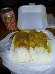 Beef stew mini plate, all rice, with Aloha passion orange juice