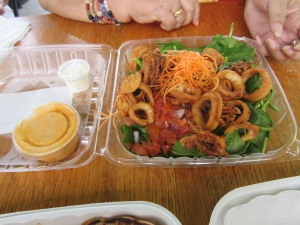 Spinach Salad with Crispy Calamari from Kaka'ako Kitchen