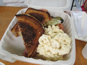 Reuben Sandwith with Macaroni Salad from Kaka'ako Kitchen